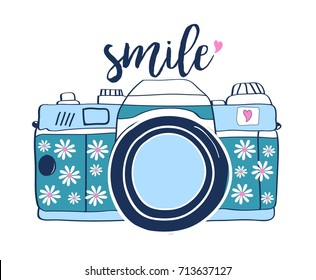 smile slogan handwriting and doodle camera illustration vector.