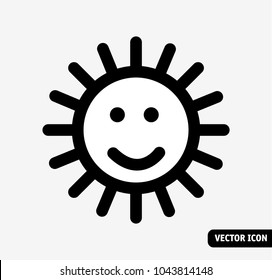 Smile sun no fade symbol black and white icon.