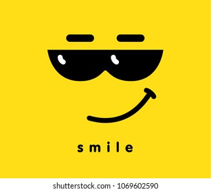 Smile with sunglasses icon emoji template design. Emoticon with smiling face wearing dark sunglasses, a sense of cool. Vector illustration