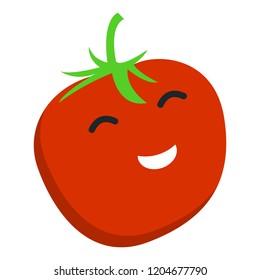 Smile tomato icon. Flat illustration of smile tomato vector icon for web design
