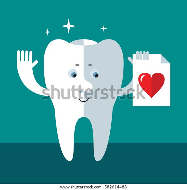 Smile Tooth with heart icon. Flat style vector illustration Medical or doctor office symbols. Oral care, dental, dentist office, tooth health, tooth care, clinic.