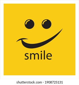 Smile vector image logo and symbol illustration design template in yellow background