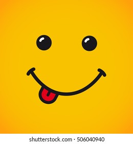 Smile vector with tongue and eyes on yellow background. Smile emotion with tongue banner