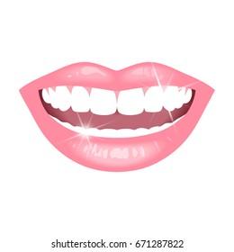 smile with white teeth on white background