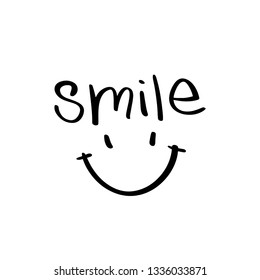 Smile word lettering and face / Vector illustration design for stickers, prints, posters, t shirts etc