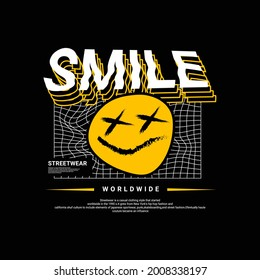 Smile writing design, suitable for screen printing t-shirts, clothes, jackets and others