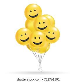 Smile yellow balloons background