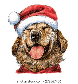 Smile Yellow Labrador Retriever with santa claus hat hand drawn vector , use for christmas background