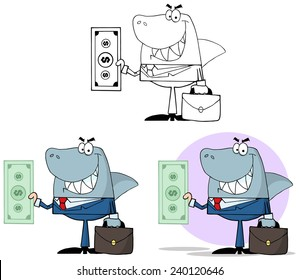 Smiled Business Shark Holding Cash. Vector Collection Set