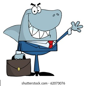 Smiled Business Shark Waving A Greeting