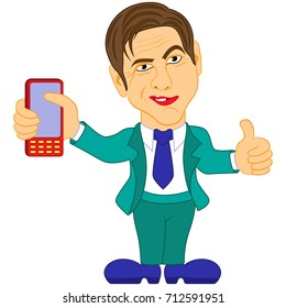 Smiled gentleman in turquoise suit holds the mobile phone, color cartoon vector illustration