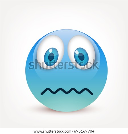 Smiley Blue Eyesemoticon Blue Face Emotions Stock Vector Royalty