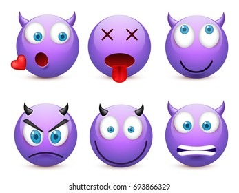Smiley with blue eyes,emoticon set. Violet face with emotions. Facial expression. 3d realistic emoji. Sad,happy,angry faces.Funny cartoon character.Mood.Vector illustration.