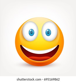 Smiley with blue eyes,emoticon. Yellow face with emotions. Facial expression. 3d realistic emoji. Sad,happy,angry faces.Funny cartoon character.Mood.Vector illustration.