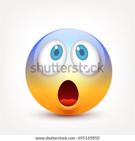 Smiley Blue Eyesemoticon Yellow Face Emotions Stock Vektorgrafik