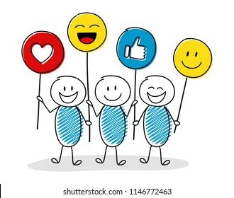 Smiley cartoon people holding balloons with emoticons. Vector.
