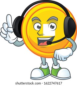 Smiley chinese gold coin cartoon character design wearing headphone