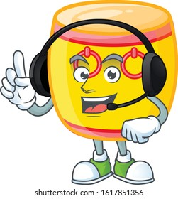 Smiley chinese gold drum cartoon character design wearing headphone