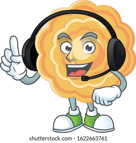 Smiley chinese mooncake cartoon character design wearing headphone