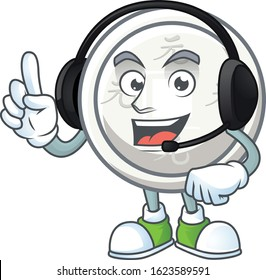 Smiley chinese silver coin cartoon character design wearing headphone