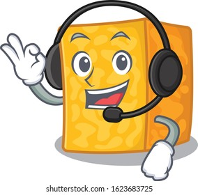 Smiley colby jack cheese cartoon character design wearing headphone