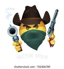 Smiley of cowboy bandit with a leather western hat and dual Colt Walker revolvers. Emoji face hiding behind a green bandanna. Thug of Wild West yells through the scarf and threatens by a smoking gun.