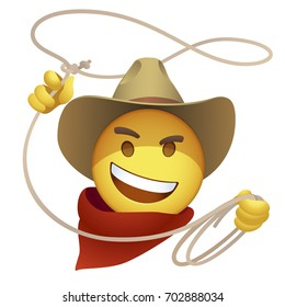 Smiley cowboy with a lasso. Cartoon sly emoticon of american herder twists a loop of rope. Wild West emoji with a curve grin on a yellow face. Rollicking retro character in a leather hat and red scarf