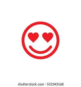 Smiley emoticon face in love line icon, for apps and websites.