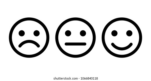 Smiley emoticons icon positive, neutral and negative . Smile Icon in trendy flat style isolated on white background.