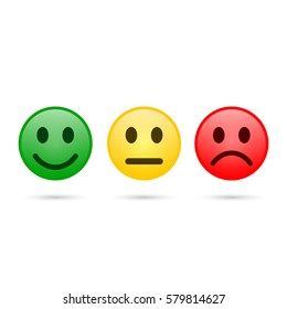 Smiley emoticons icon positive, neutral and negative, vector isolated evaluation illustration of red, yellow and green different mood.