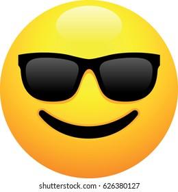 Smiley Face With Dark Sunglasses Emoji