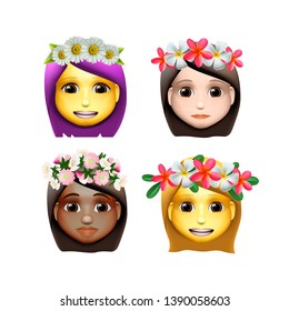 Smiley face emoji, characters girls avatars with flower on head in cartoon style, emoji icons, animoji, summer concept, emoticons with wreath flowers, vector illustration.