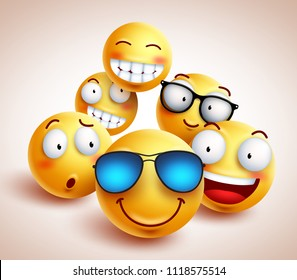 Smiley face emoticons vector characters with funny group of cool friends of yellow smileys in different facial expressions. Vector illustration.