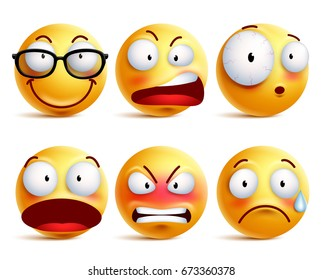 Smiley face or emoticons vector set in yellow with facial expressions and emotions like happy, angry and sad isolated in white background. Vector illustration.