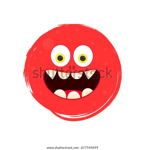 Smiley Face Funny Monster Banner Design Stock Vector