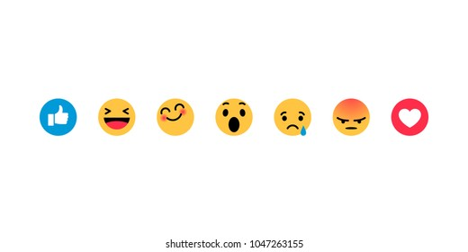 Smiley face, like, heart in isometry. Emotion Icons. Yellow smiley smiling, crying, angry, afraid, surprised, happy