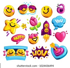Smiley face love and friends stickers vector set. Cartoon youth symbols on isolated background