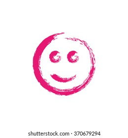 Smiley Face Paintbrush Grunge Vector