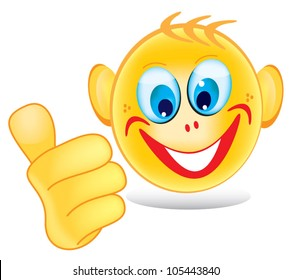 Smiley face showing ok gesture