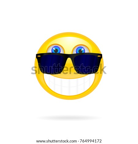 smiley face with sunglasses solar vector illustration cool glossy single emoticon vector