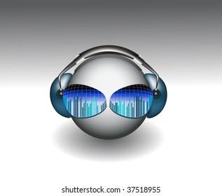Smiley Face wears Headphones