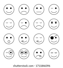 smiley faces in black and white color set art illustration