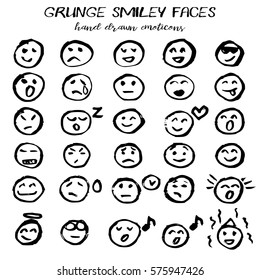 Smiley faces collection in hand drawn technique and grunge style isolated on white. Vector illustration