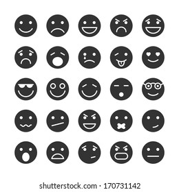 Smiley faces icons set of emotions mood and expression isolated vector illustration