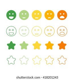 Smiley faces rating icons. Happy and unhappy smileys.  Customer review, rating, like concepts.