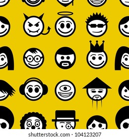 Smiley faces seamless pattern.