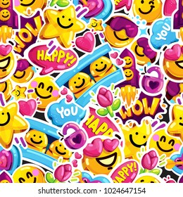 smiley faces sticker emoji love seamless pattern. Cartoon vector youth fun message background.