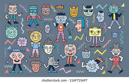 Smiley Faces Wacky Cheese Characters Doodle Set 2 Color Vector Illustration