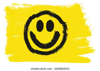 Smiley Flag Vector Hand Painted with Rounded Brush