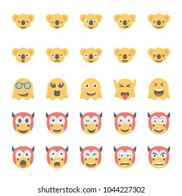 Smiley Flat Icons Set 34